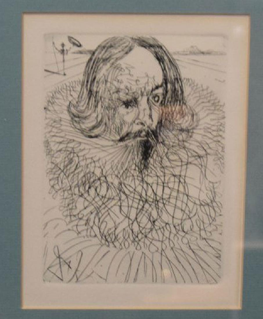 Salvador Dali etching of Cervantes 6-3/4 x 4-3/4 inches