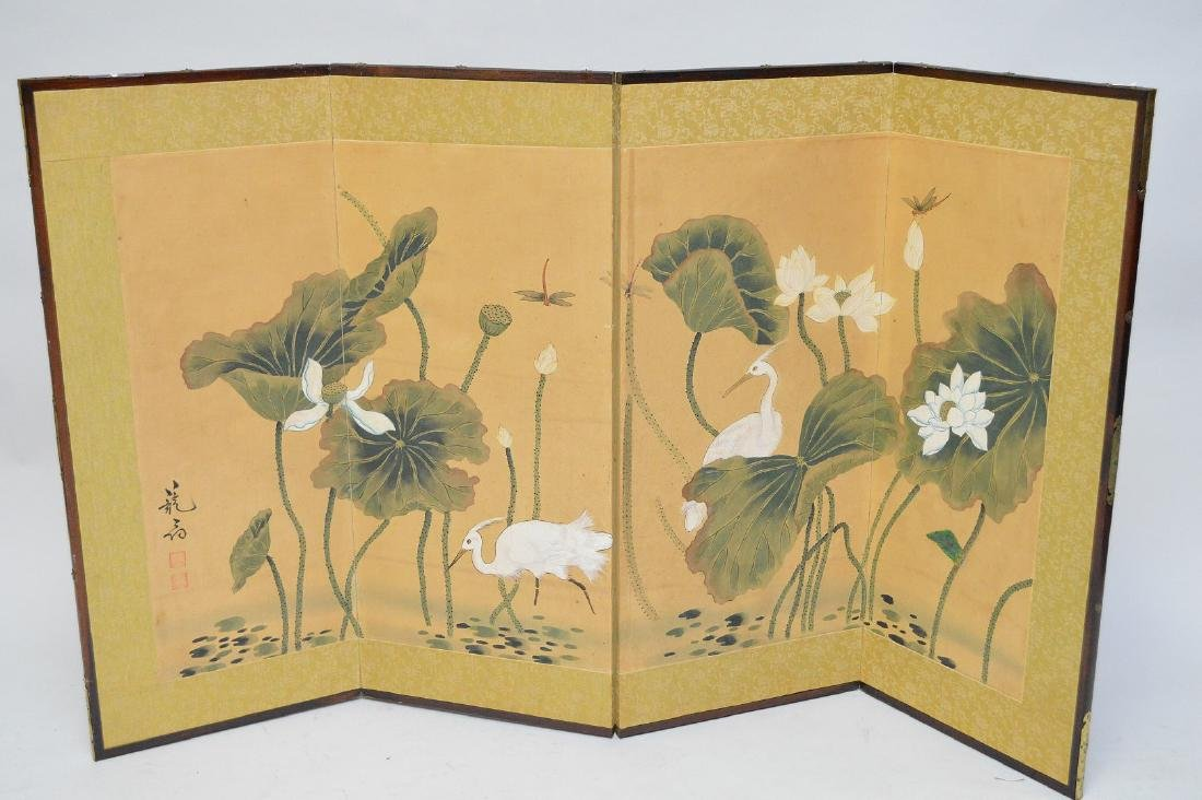 Chinese early 20th century. Framed four panel
