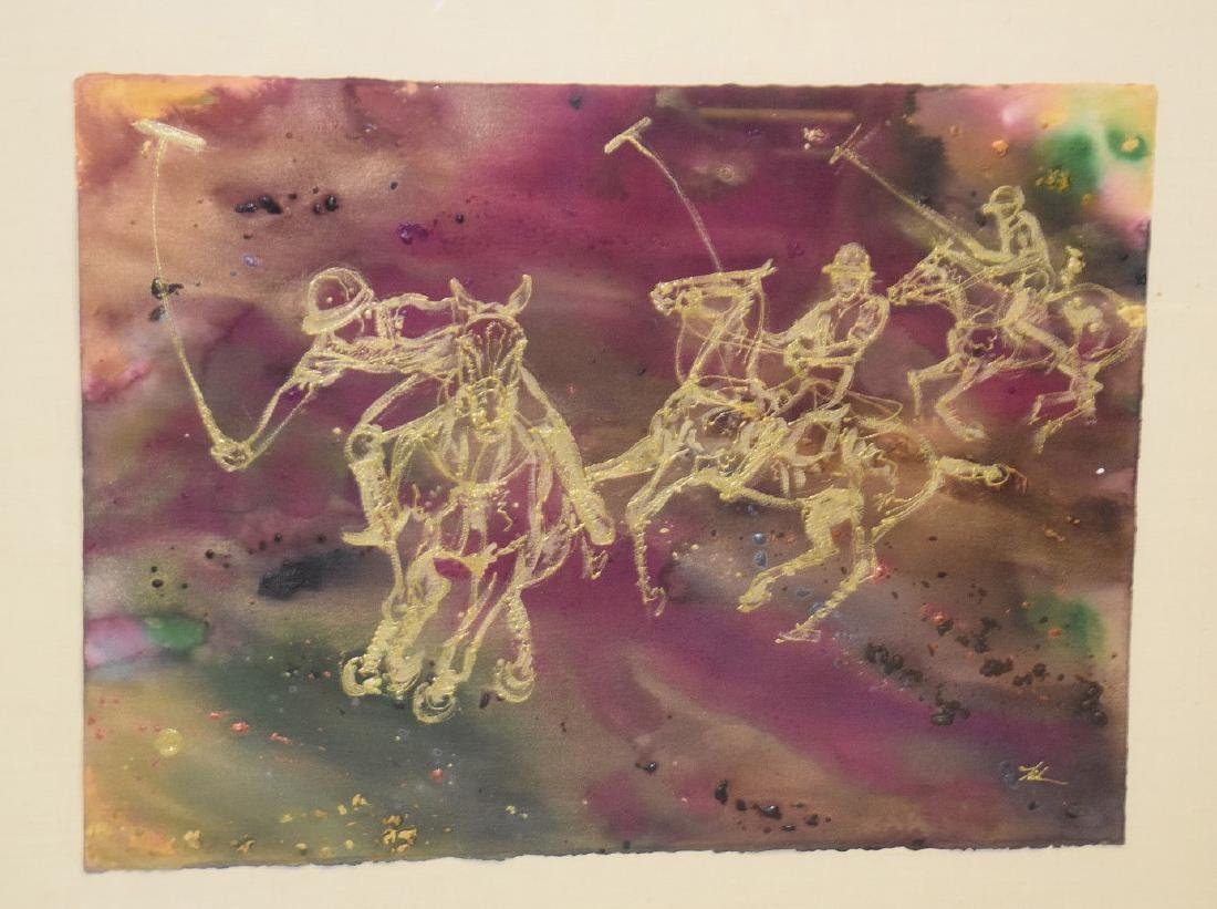 Polo Match Painting, gold paint on heavy paper,