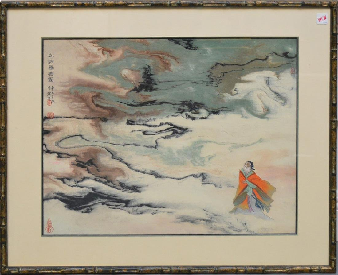 Chinese watercolor landscape with figure-18 x 22 inch