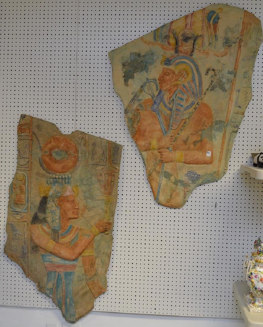 Pair of large Egyptian revival wall plaques largest