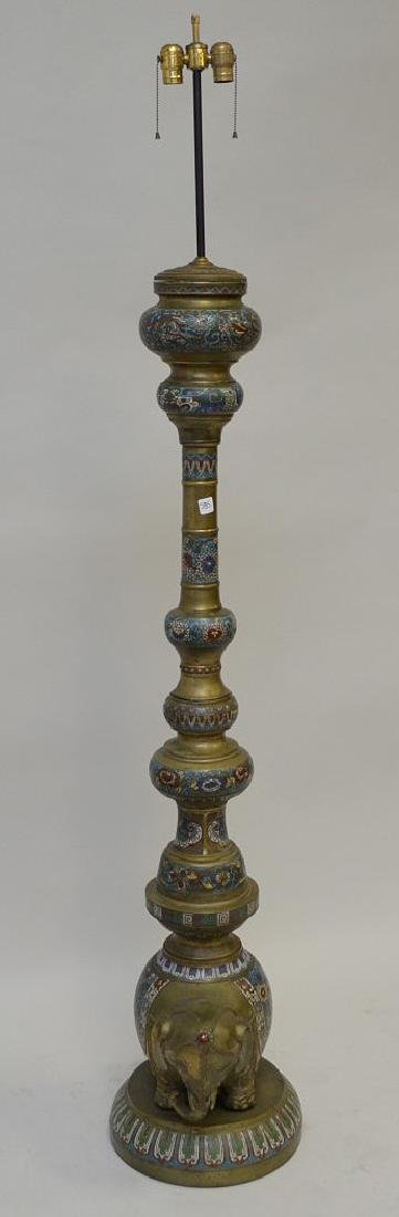 Cloisonné and brass floor lamp with elephant, circa