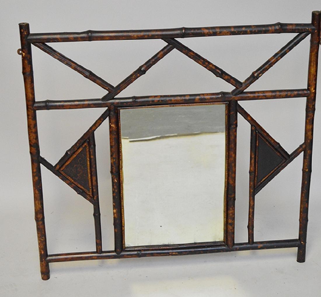 "Vintage Bamboo frame mirror, 32"" x 34""w"