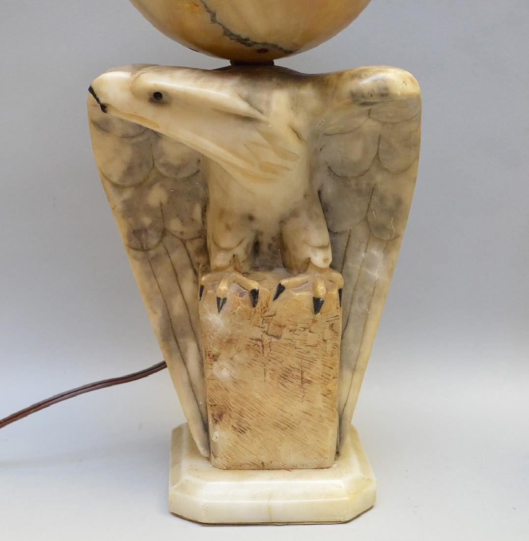 "Alabaster Eagle lamp, 17 1/2""h"