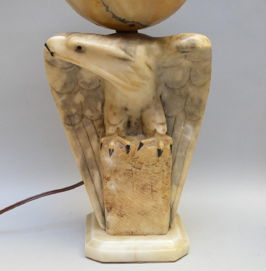 """Alabaster Eagle lamp, 17 1/2""""h"""