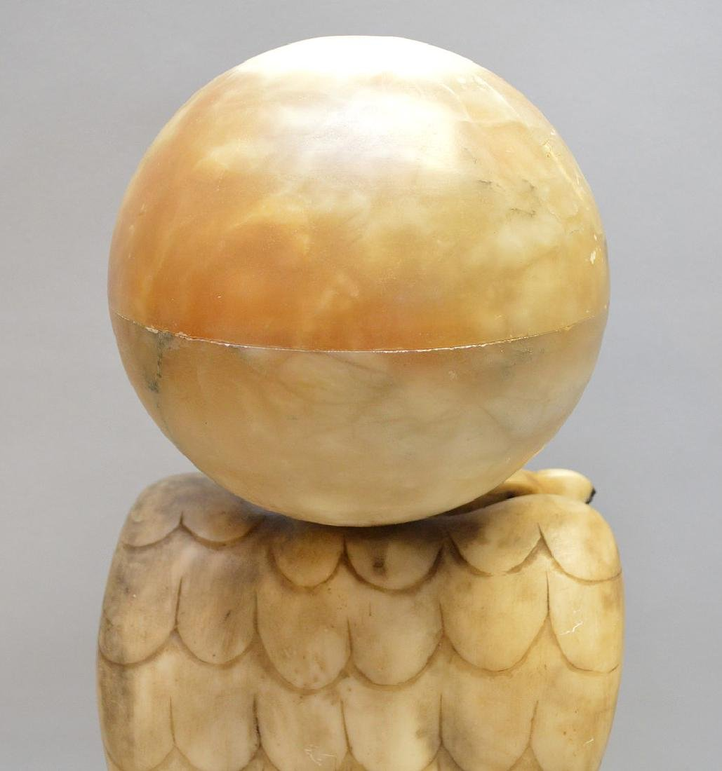 "Alabaster Eagle lamp, 17 1/2""h - 4"
