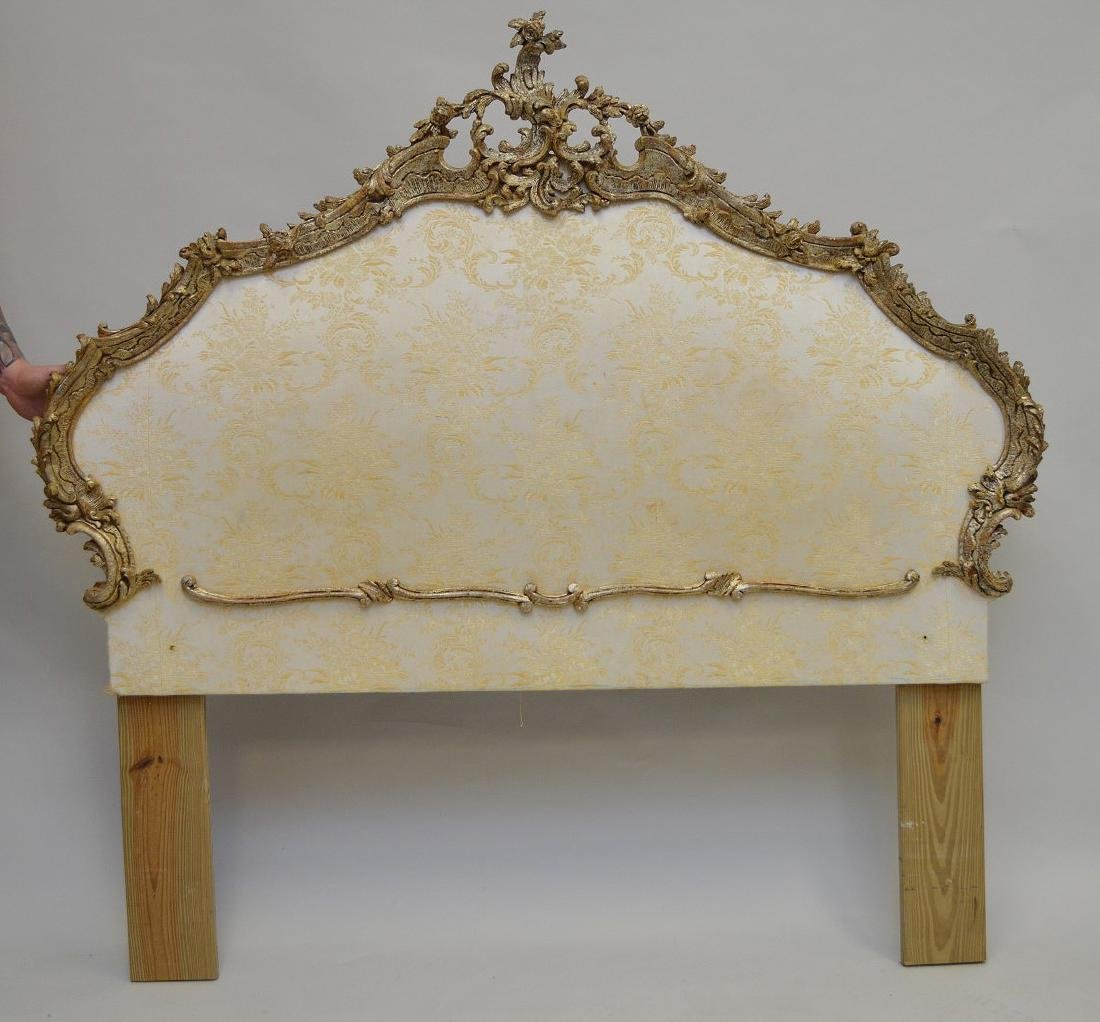 "French carved wood & upholstered bed frame, 60""h x 64"""