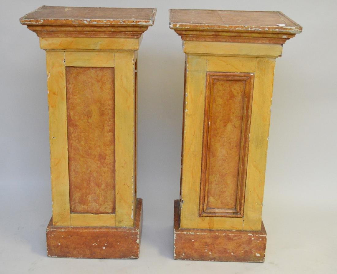 "Pair painted wood pedestals, 36""h x 17 1/2"" square"