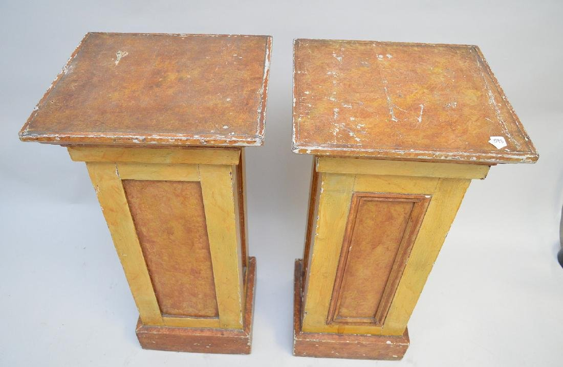 "Pair painted wood pedestals, 36""h x 17 1/2"" square - 2"