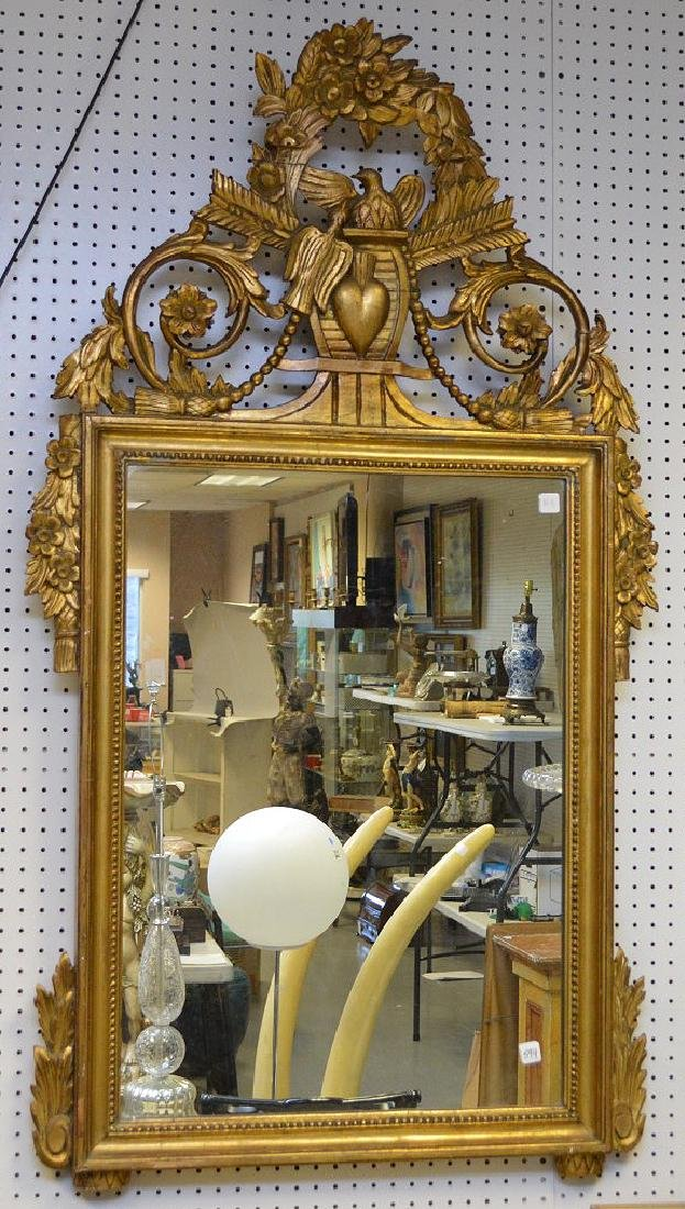 Italian giltwood carved mirror with love birds & heart,