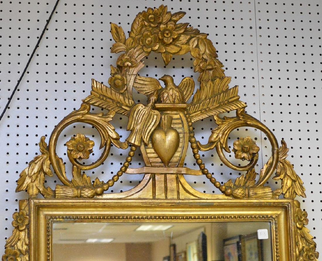Italian giltwood carved mirror with love birds & heart, - 2