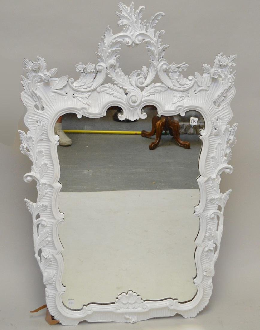 "Carved and painted white Italian lacquered mirror, 49""h"