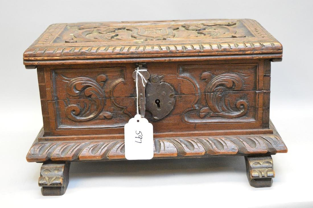 Miniature Continental carved wood casket, 18th c.