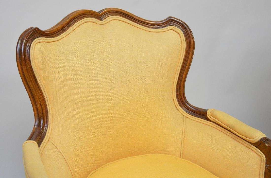 Pair yellow upholstered French style arm chairs - 2