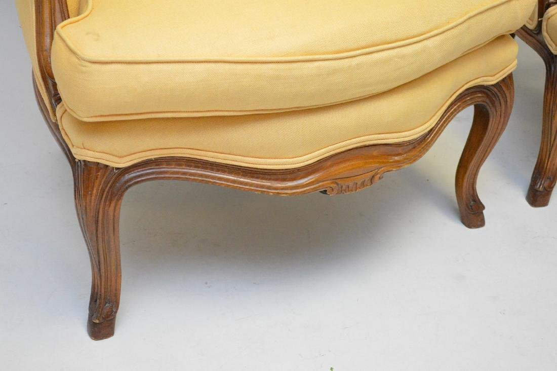 Pair yellow upholstered French style arm chairs - 3