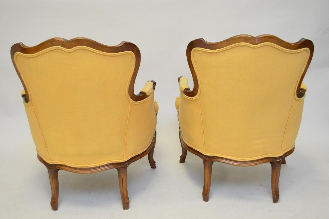 Pair yellow upholstered French style arm chairs - 4