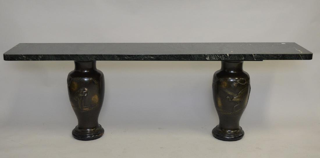 "Green Marble top on 2 bronze urns, sofa table, 25""h x"