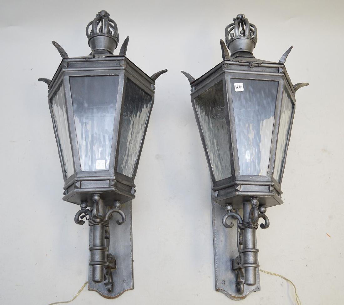 """Pewter finish outdoor lanterns, 36""""h"""
