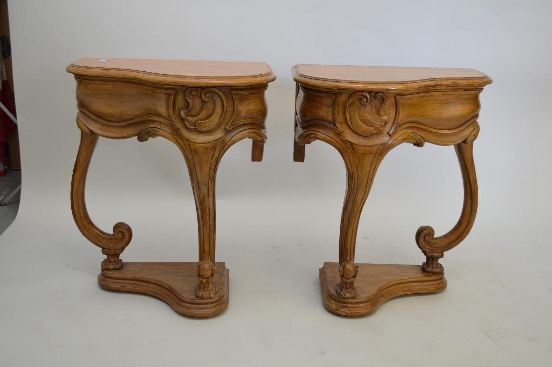 "PAIR of antique style carved side tables, each 22"" wide"