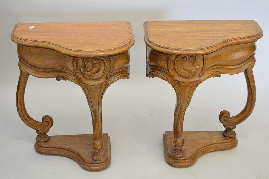 """PAIR of antique style carved side tables, each 22"""" wide - 2"""