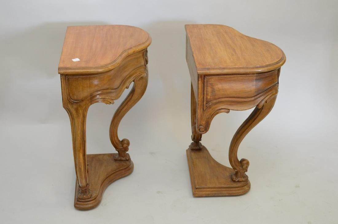 """PAIR of antique style carved side tables, each 22"""" wide - 3"""