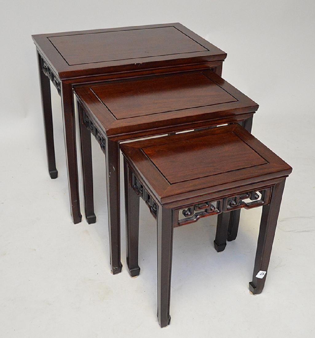 Mahogany nest of Chinese style tables - 3