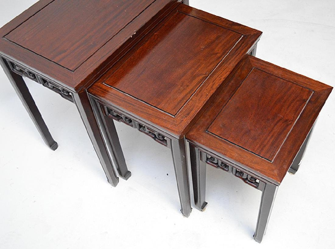 Mahogany nest of Chinese style tables - 4