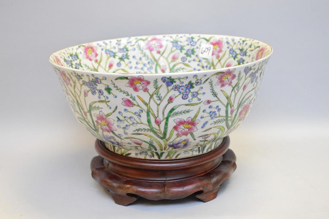 "Chinese bowl on stand, floral design, 9""h x 14""dia"