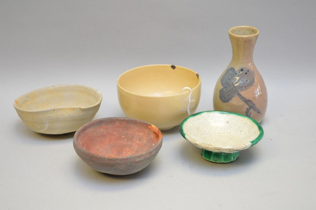 Early Asian Pottery Vessels - Four bowls, one vase.