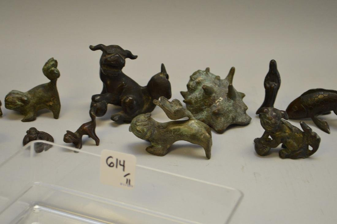 "Eleven Early Bronze Figurines Largest Foo Dog 2 1/4"" h"