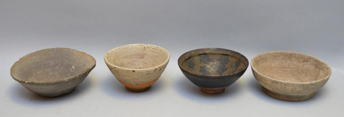 Four Early Asian Ceramic Bowls - Tea bowl with matte
