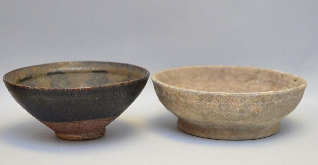 Four Early Asian Ceramic Bowls - Tea bowl with matte - 3
