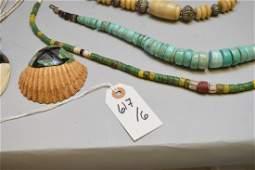 Six Ethnic Necklaces w/ Shell, Glass, Bone, Stone - Two
