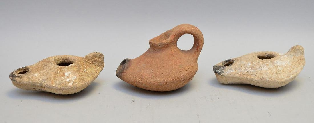 Three Small Ancient Ceramic Oil Lamps - Two buff/white