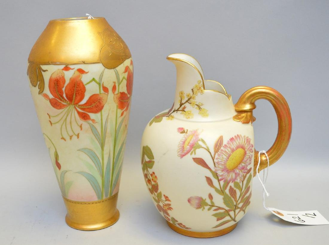 Royal Worcester Hand Painted Floral Jug & Pickard Vase