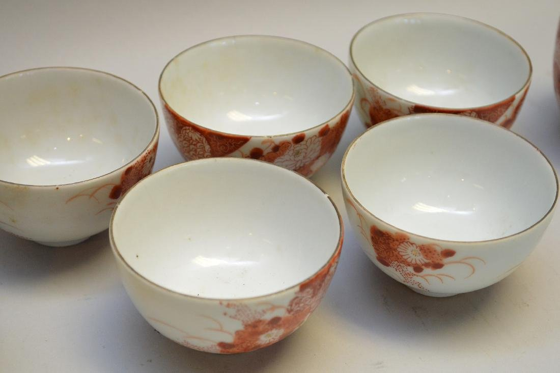 Red & Gilt painted Japanese Porcelain Tea Set - Seven - 3