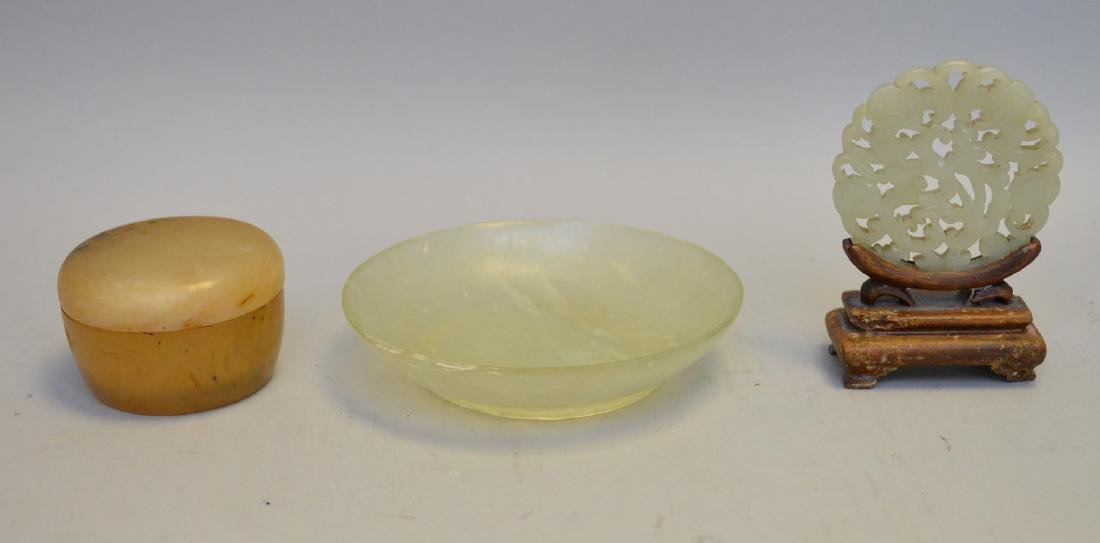 Three Asian Jade Articles - One light green/yellow