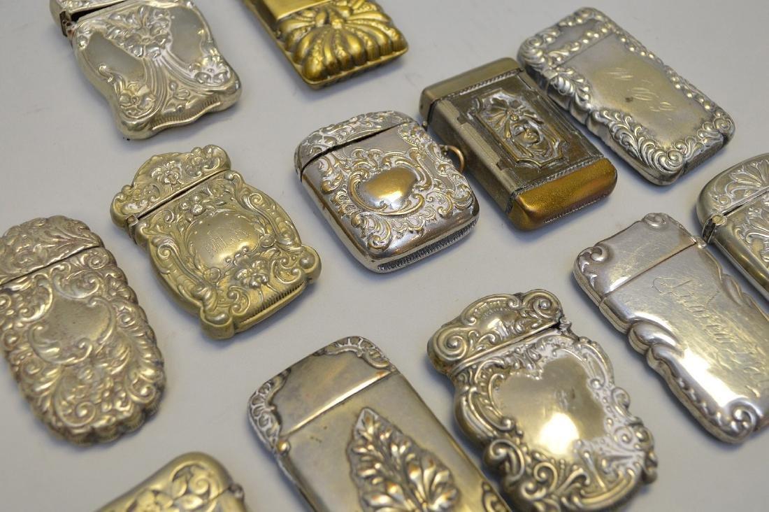 12 vintage silver plate match safes - 2