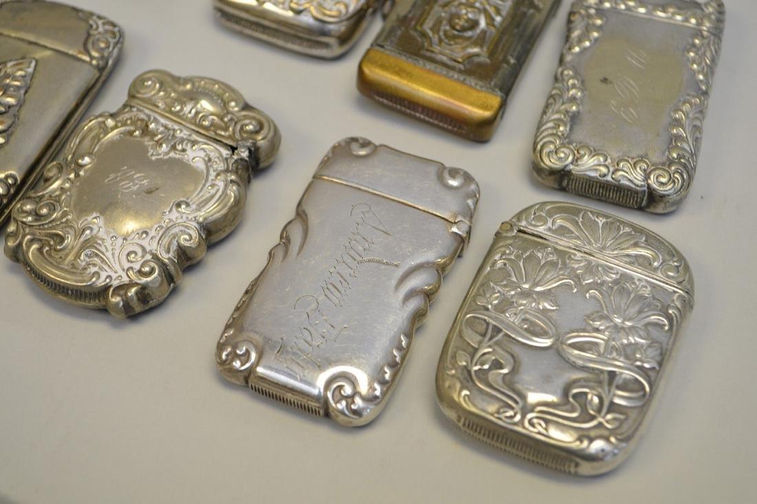 12 vintage silver plate match safes - 3