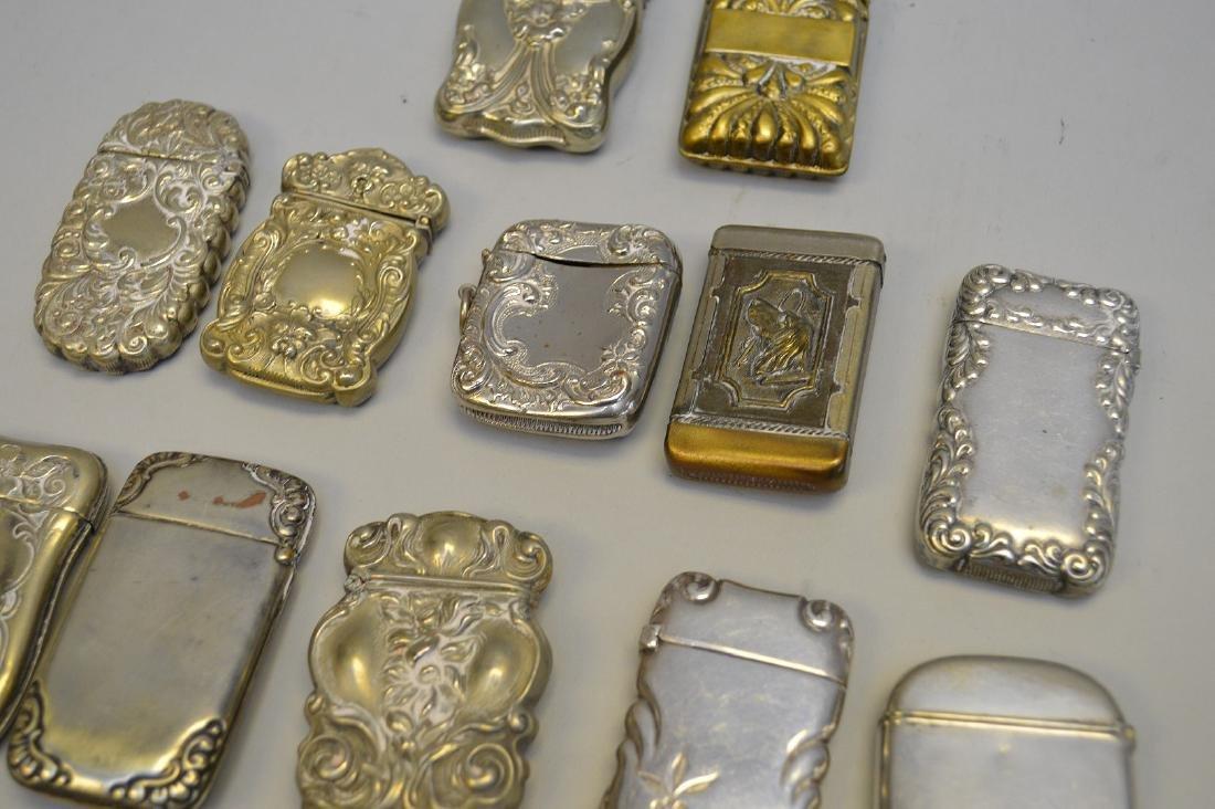 12 vintage silver plate match safes - 5