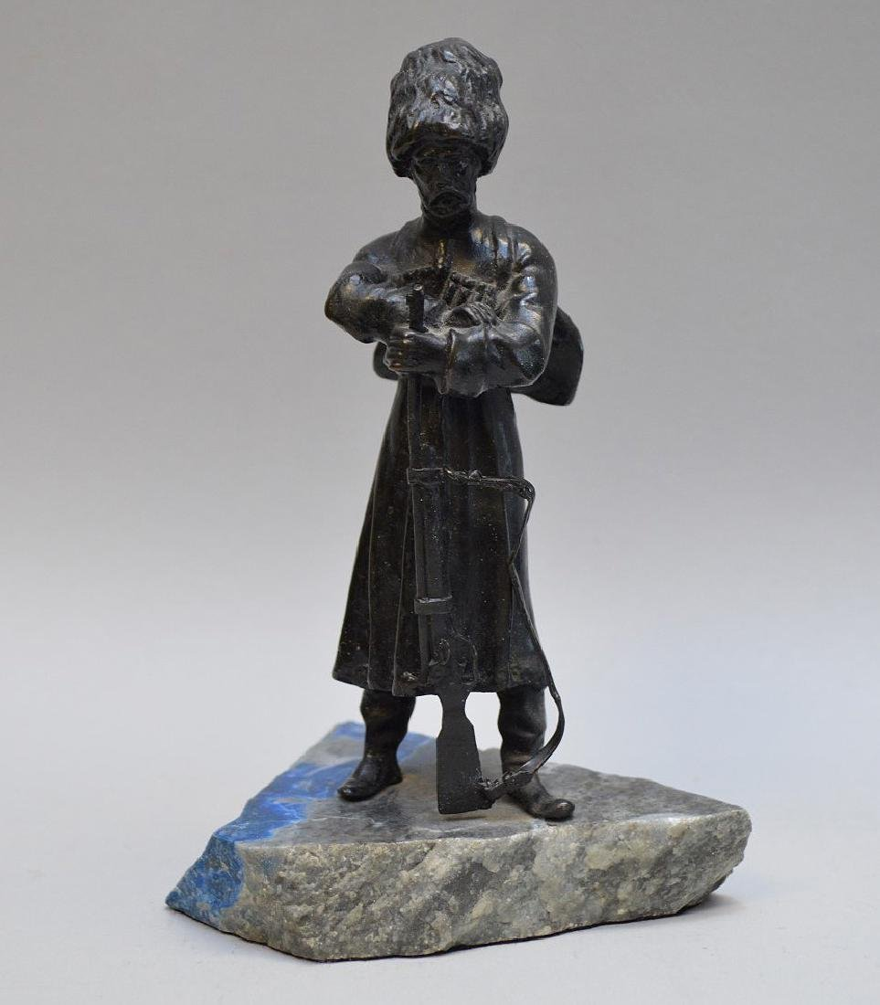 "Bronze Cossack on lapis base, 5 1/2""h"