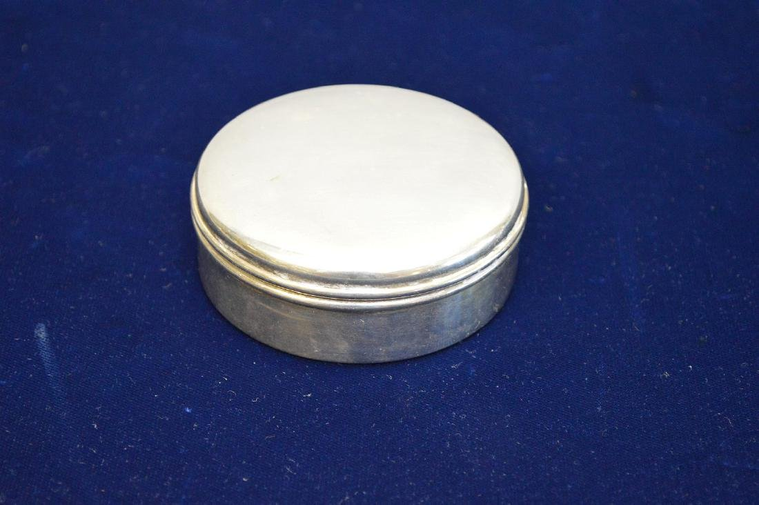 Sterling Cartier round hinged box, 3""