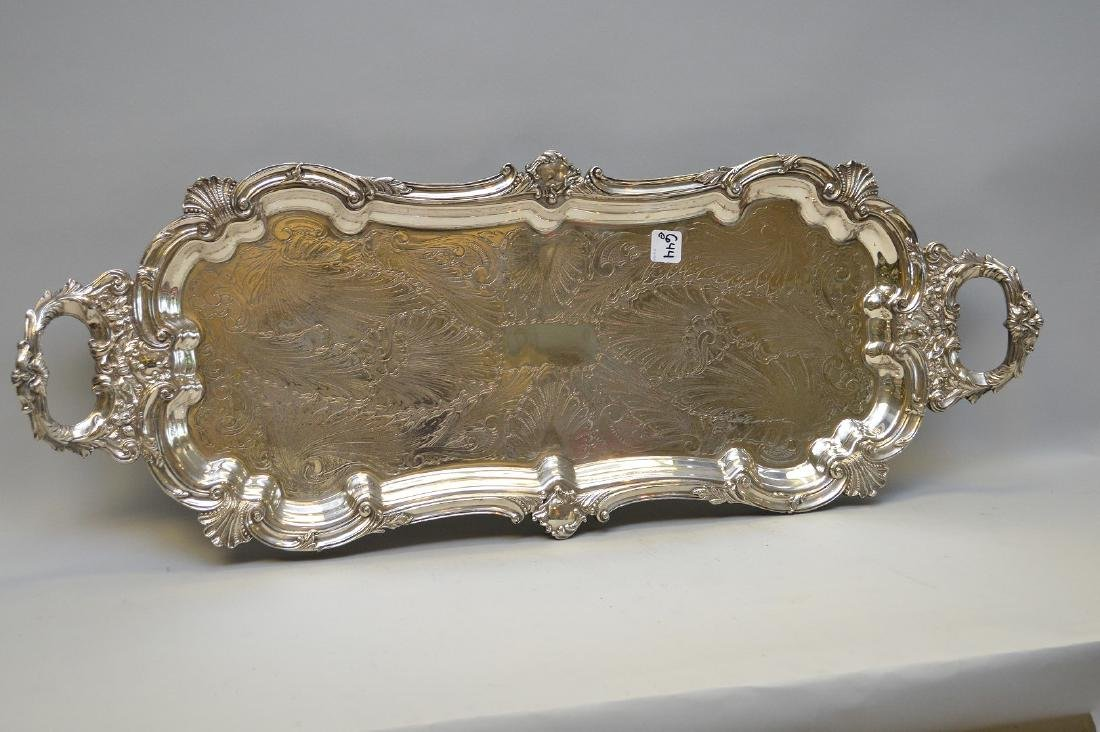 """Silver plate tray, 32"""" x 12"""""""