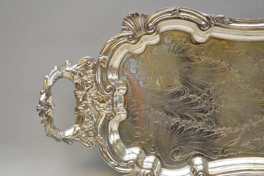 """Silver plate tray, 32"""" x 12"""" - 2"""