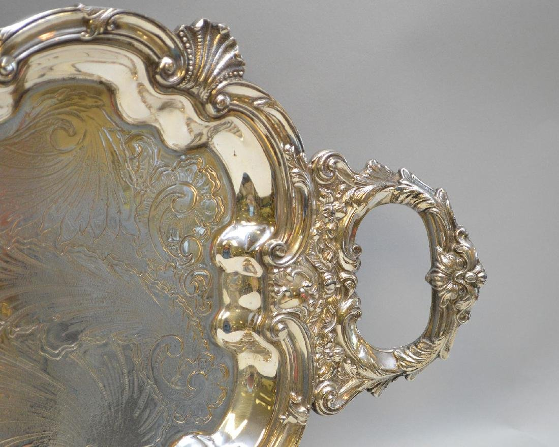 """Silver plate tray, 32"""" x 12"""" - 3"""