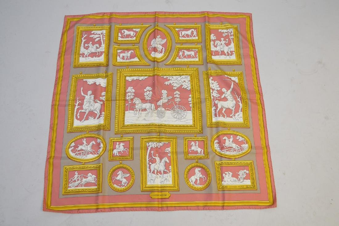 "Hermes silk scarf in box ""Wedgwood by Ledoux"""