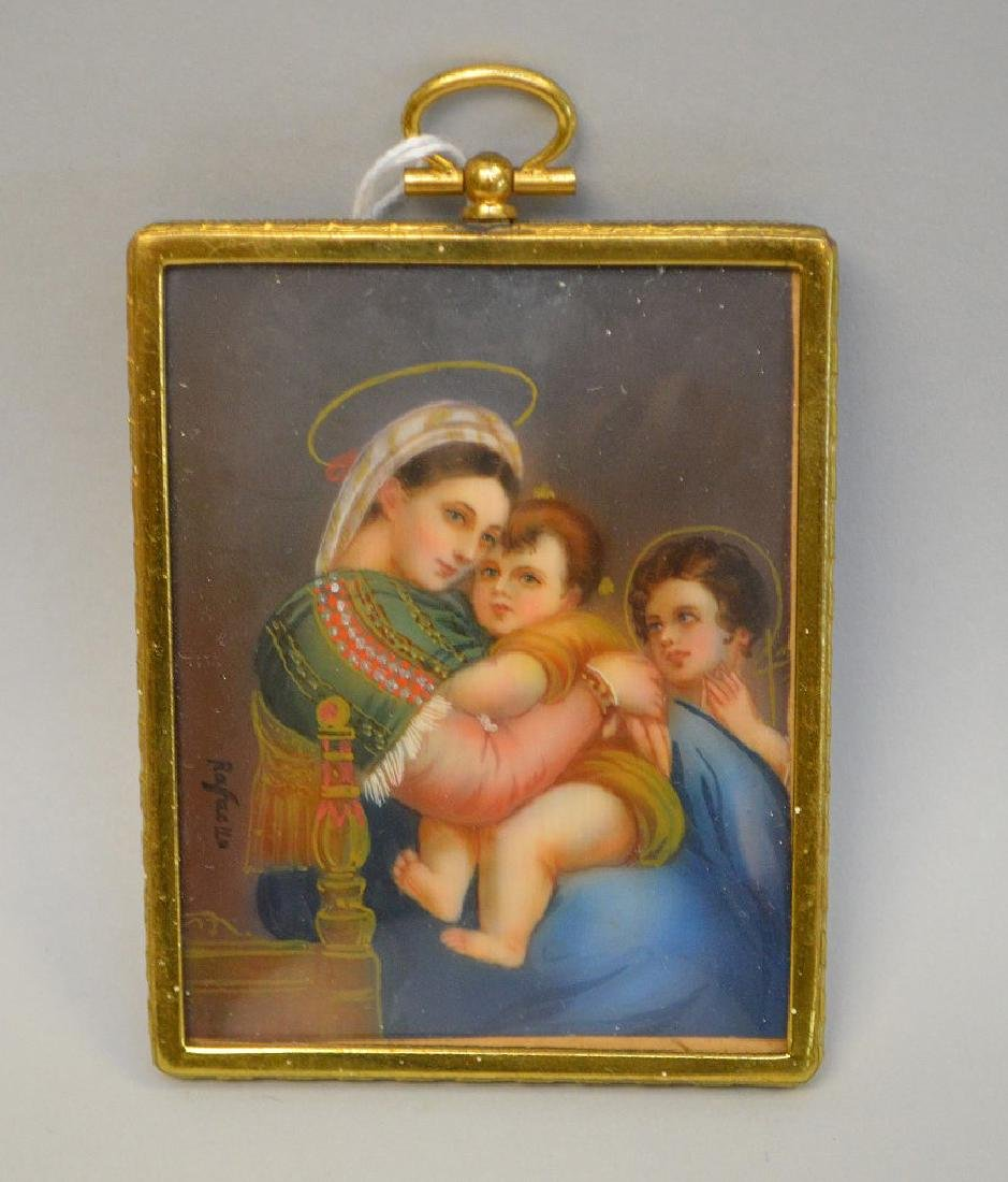 French miniature of Mother & Child painted on silk,