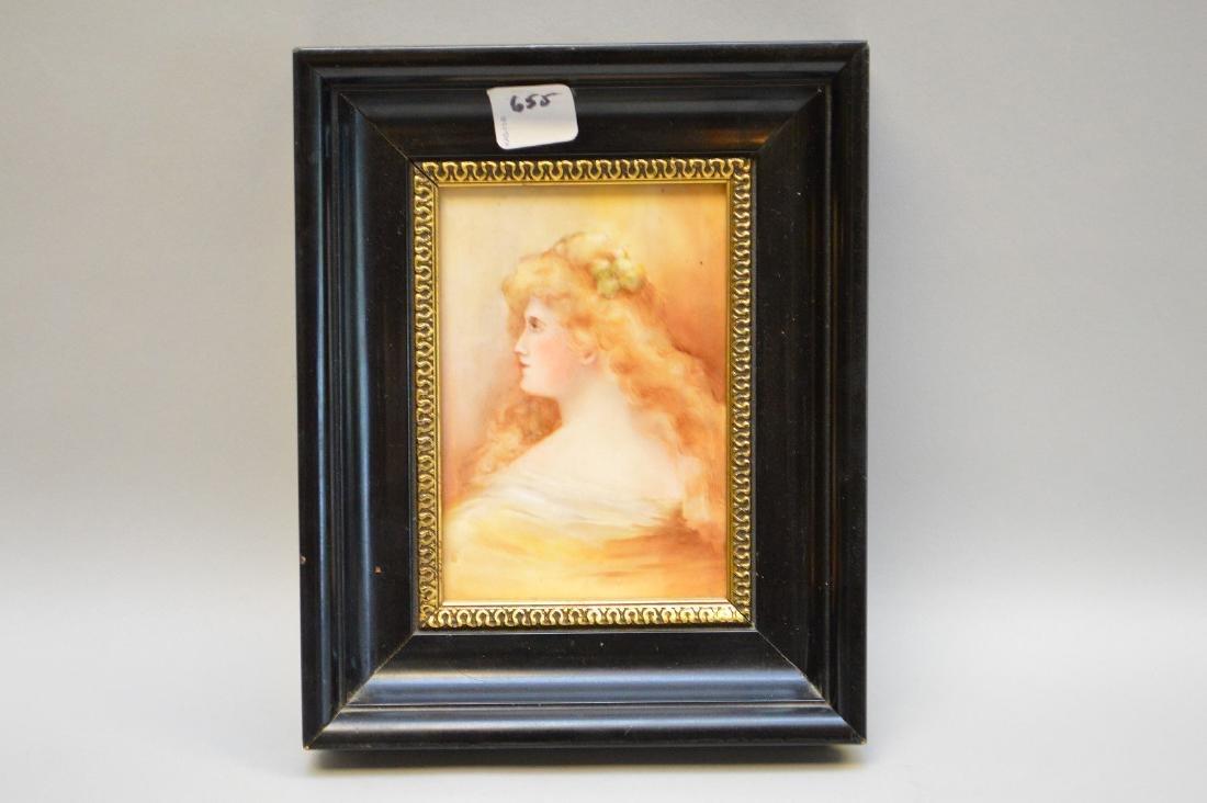 "French porcelain plaque, 5 1/2"" x 3 1/2"""