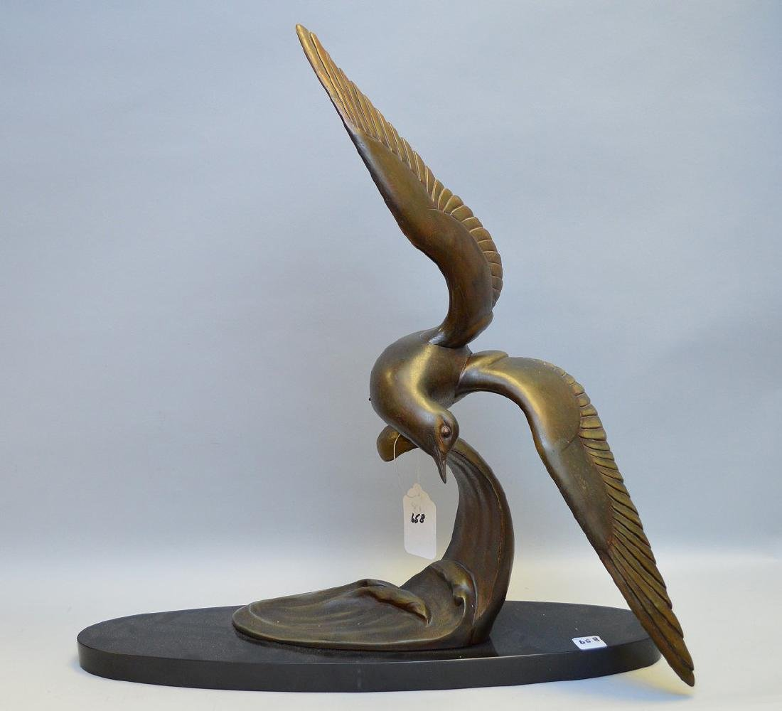Modern 2 pc. Bronze bird on attached marble base, 25