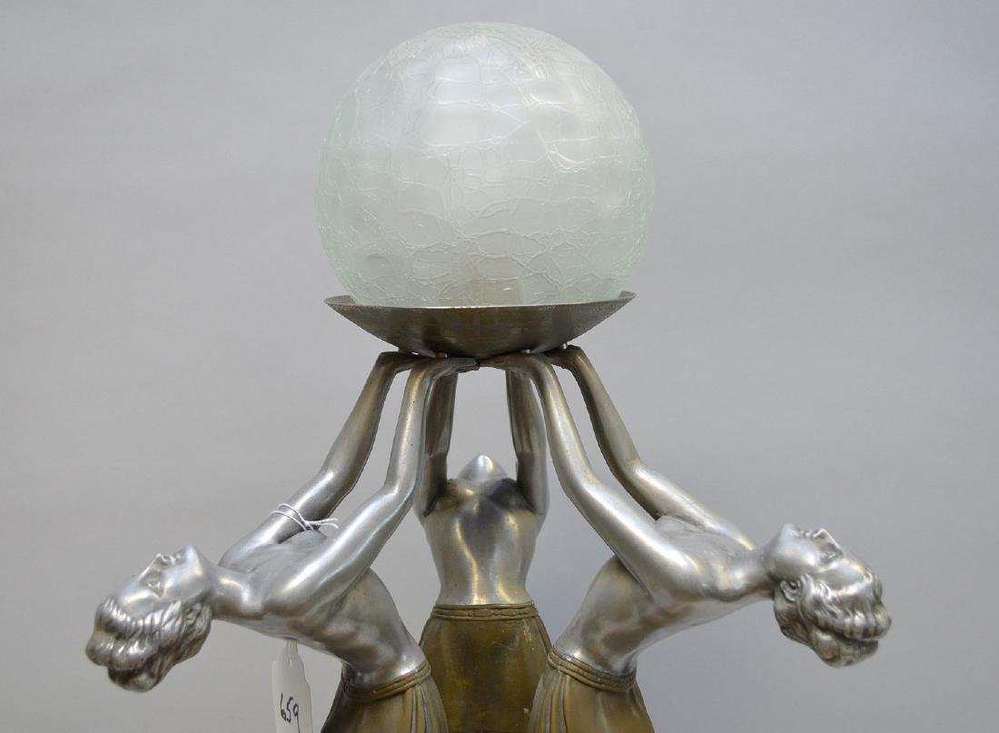 """Art Deco pewter & marble 3 figure lamp, 21""""h x 9 1/2""""w - 2"""